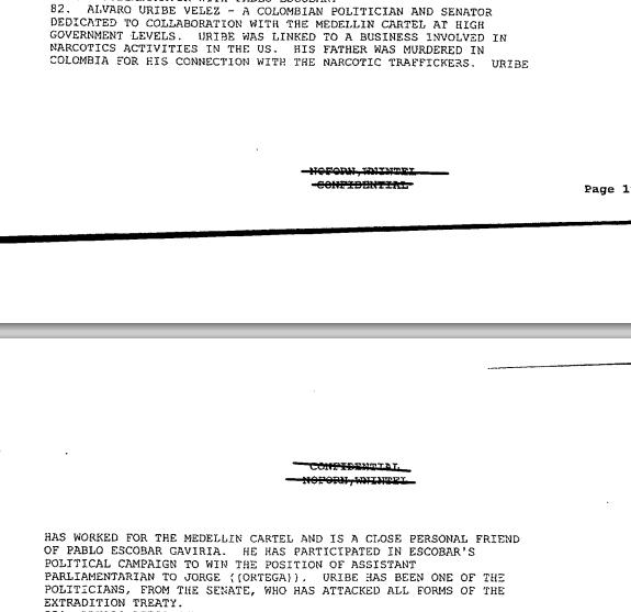 """Documento donde el FBI asegura que el ex Presidente Álvaro Uribe es un """"cercano y personal amigo de Escobar"""" y que está estrechamente vinculado al tráfico de cocaína. Por este documento, Uribe es conocido como el """"narcotraficante Nº82"""""""