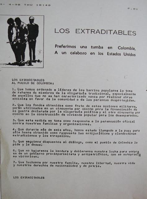 Una de las cartas de Los Extraditables, el grupo de narcos encabezados por Escobar y que exigían que no se les enviara a una cárcel en Estados Unidos.