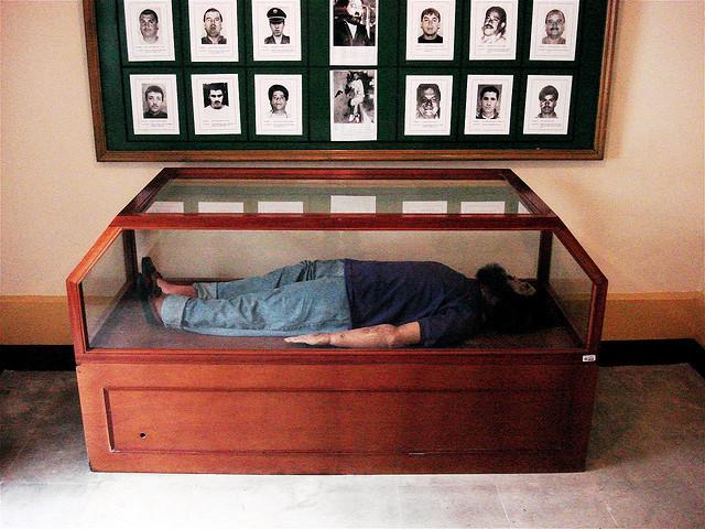 Figura del cuerpo de Escobar en el Museo de la Policía en Colombia